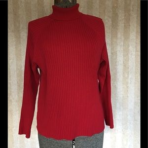 Venezia red turtleneck sweater.